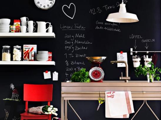 Ściany kuchenne pokryte farbą tablicową_2