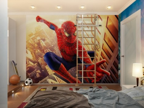 spiderman-down-lit-boys-room-with-ladder-700x525