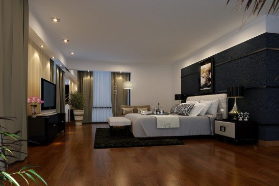 Black-background-wall-design-for-bedroom